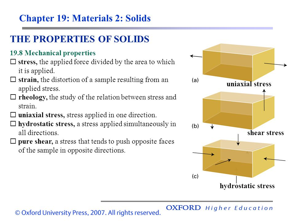 Chapter 19: Materials 2: Solids THE PROPERTIES OF SOLIDS 19.8 Mechanical properties  stress, the applied force divided by the area to which it is app