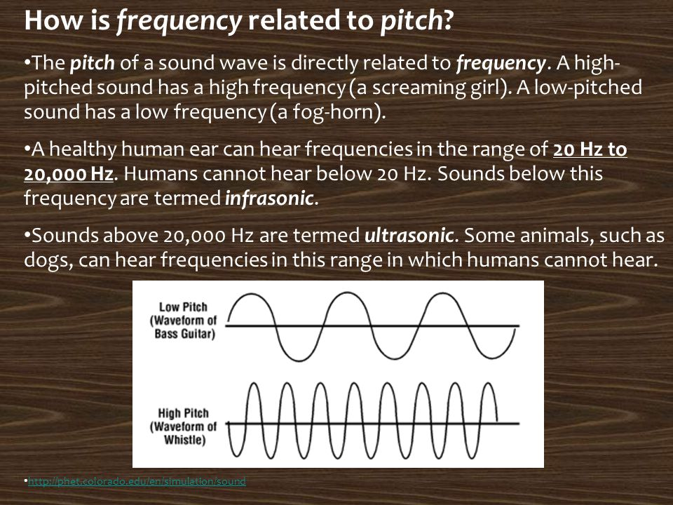How is frequency related to pitch? The pitch of a sound wave is directly related to frequency. A high- pitched sound has a high frequency (a screaming