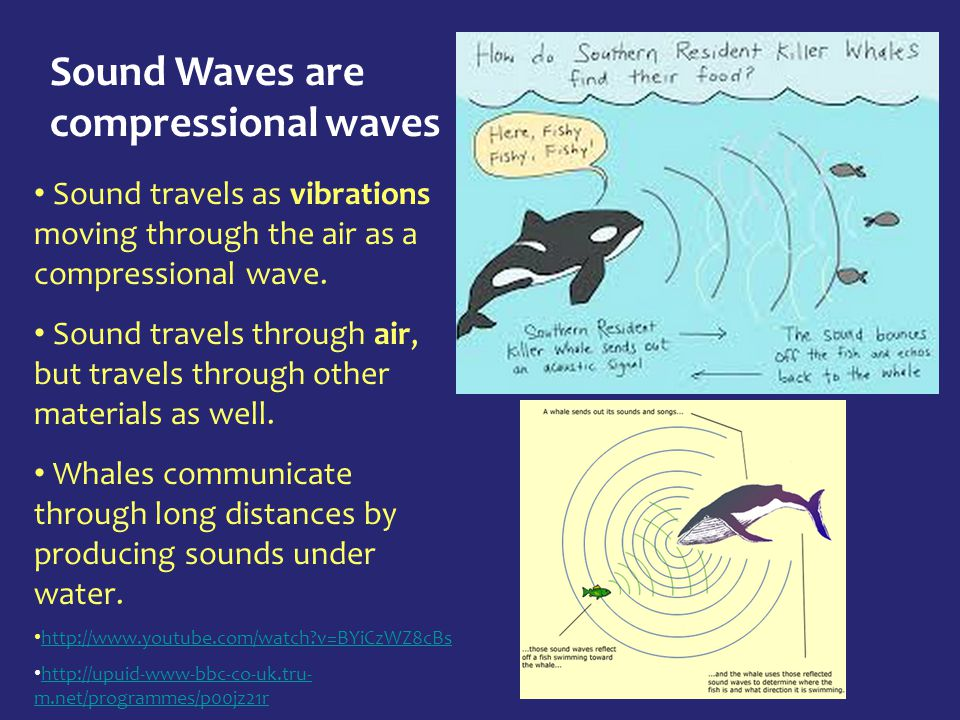 Sound Waves are compressional waves Sound travels as vibrations moving through the air as a compressional wave. Sound travels through air, but travels