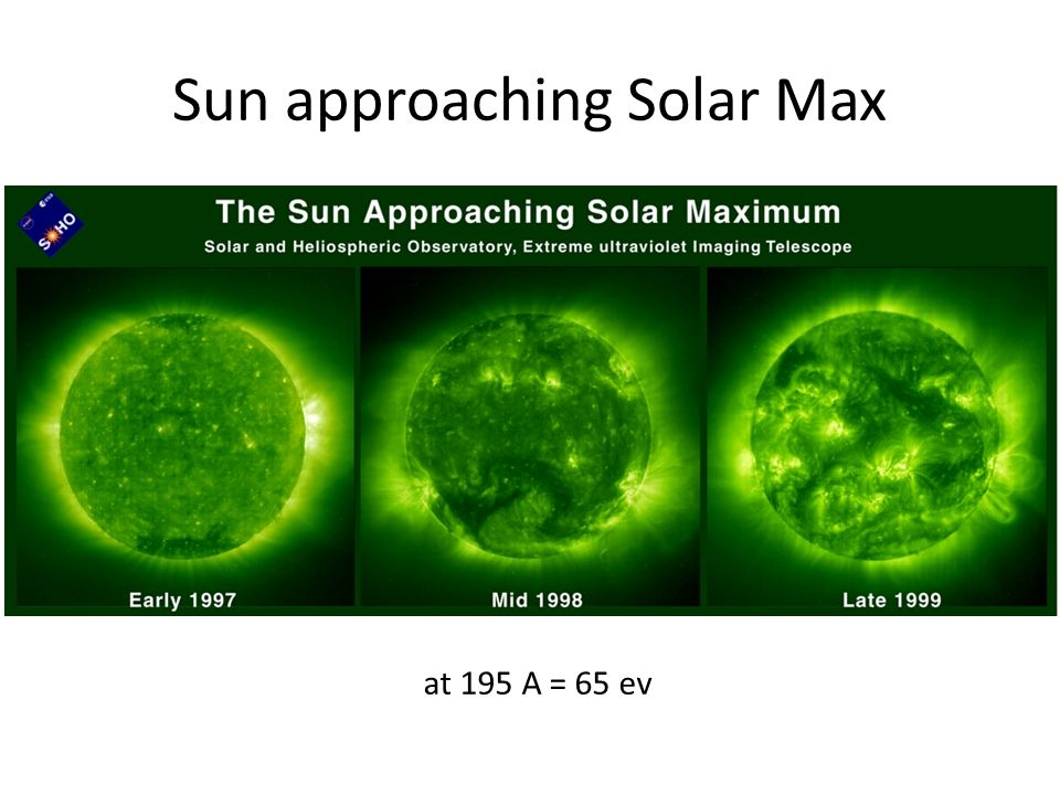 at 195 A = 65 ev Sun approaching Solar Max