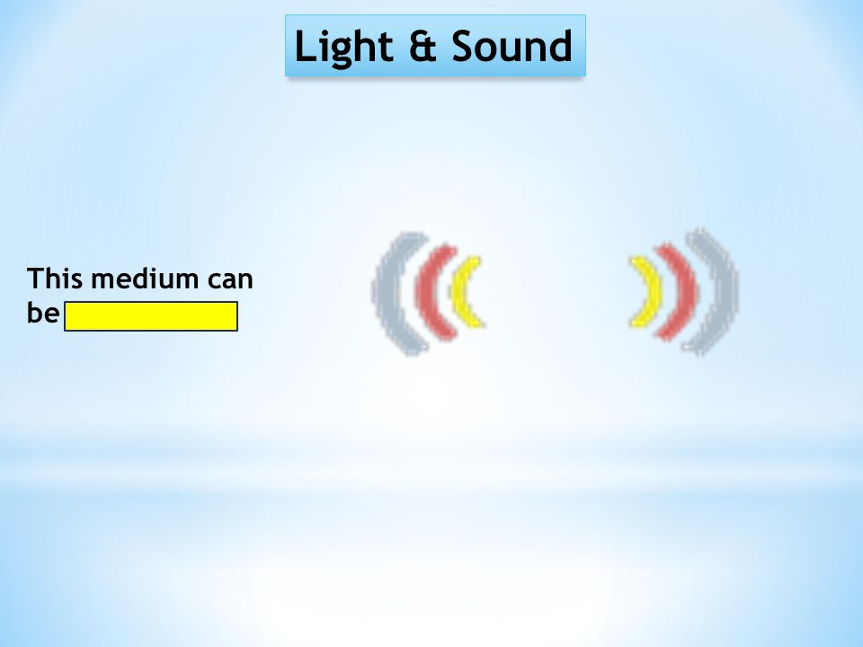Light & Sound This medium can be gaseous…