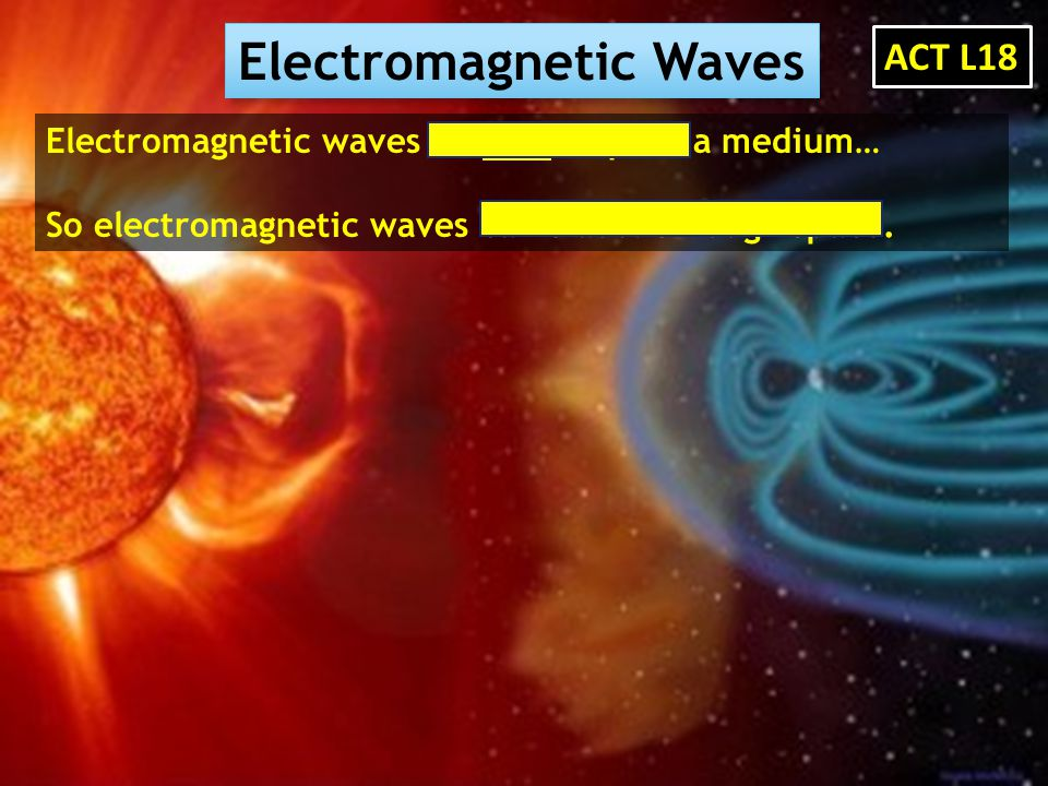Electromagnetic Waves Electromagnetic waves do NOT require a medium… So electromagnetic waves can travel through space. ACT L18