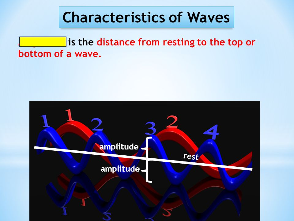 Characteristics of Waves Amplitude is the distance from resting to the top or bottom of a wave. amplitude rest