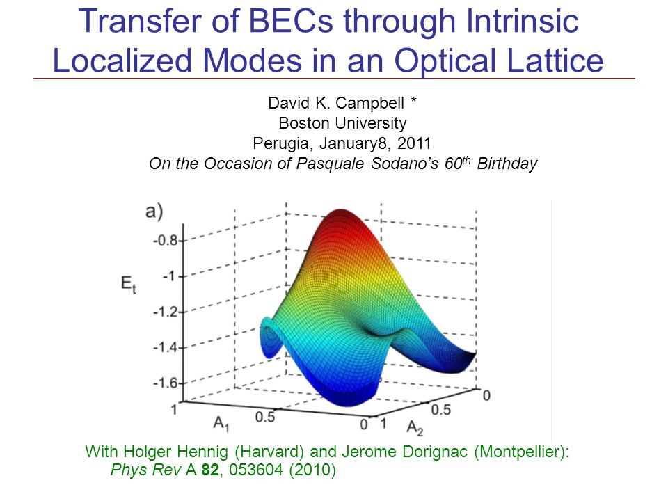 Transfer of BECs through Intrinsic Localized Modes in an Optical Lattice David K. Campbell * Boston University Perugia, January8, 2011 On the Occasion