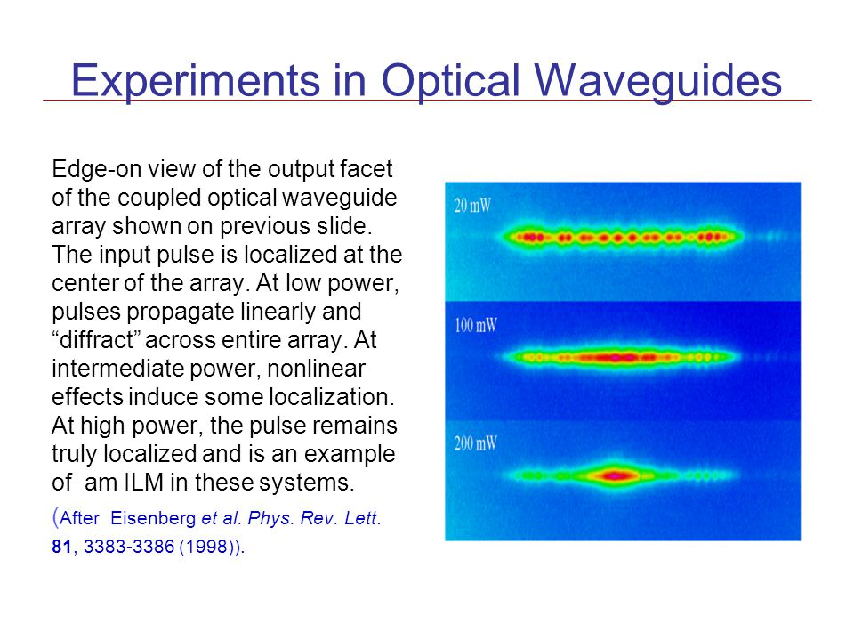 Experiments in Optical Waveguides Edge-on view of the output facet of the coupled optical waveguide array shown on previous slide. The input pulse is