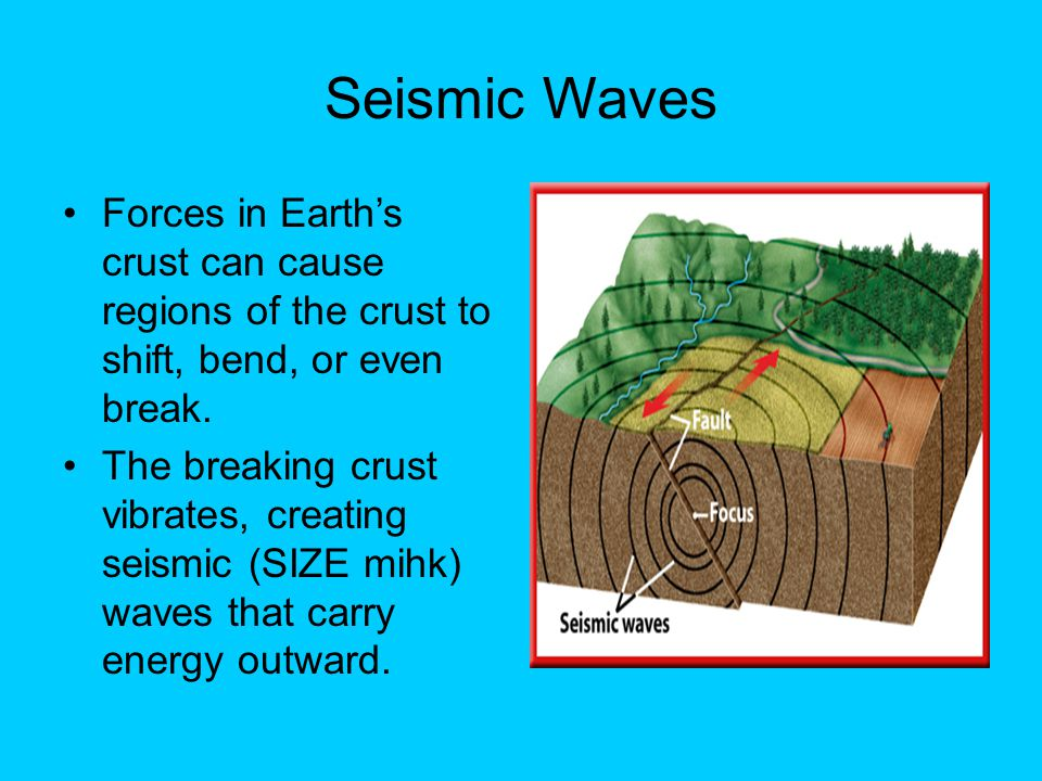 Seismic Waves Forces in Earth's crust can cause regions of the crust to shift, bend, or even break. The breaking crust vibrates, creating seismic (SIZ