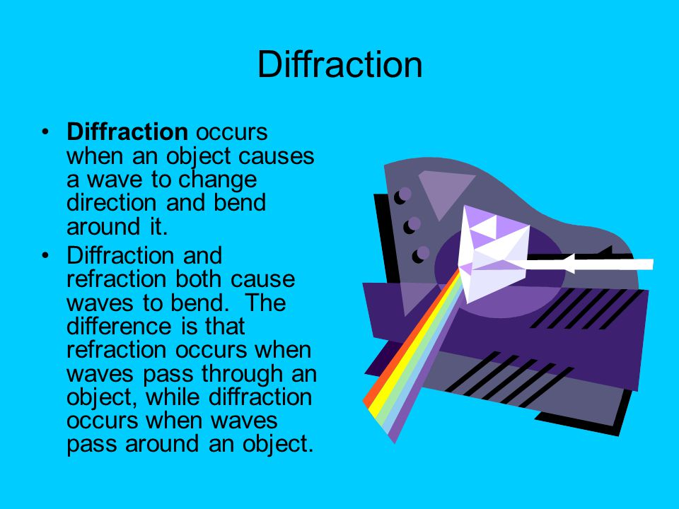 Diffraction Diffraction occurs when an object causes a wave to change direction and bend around it. Diffraction and refraction both cause waves to ben