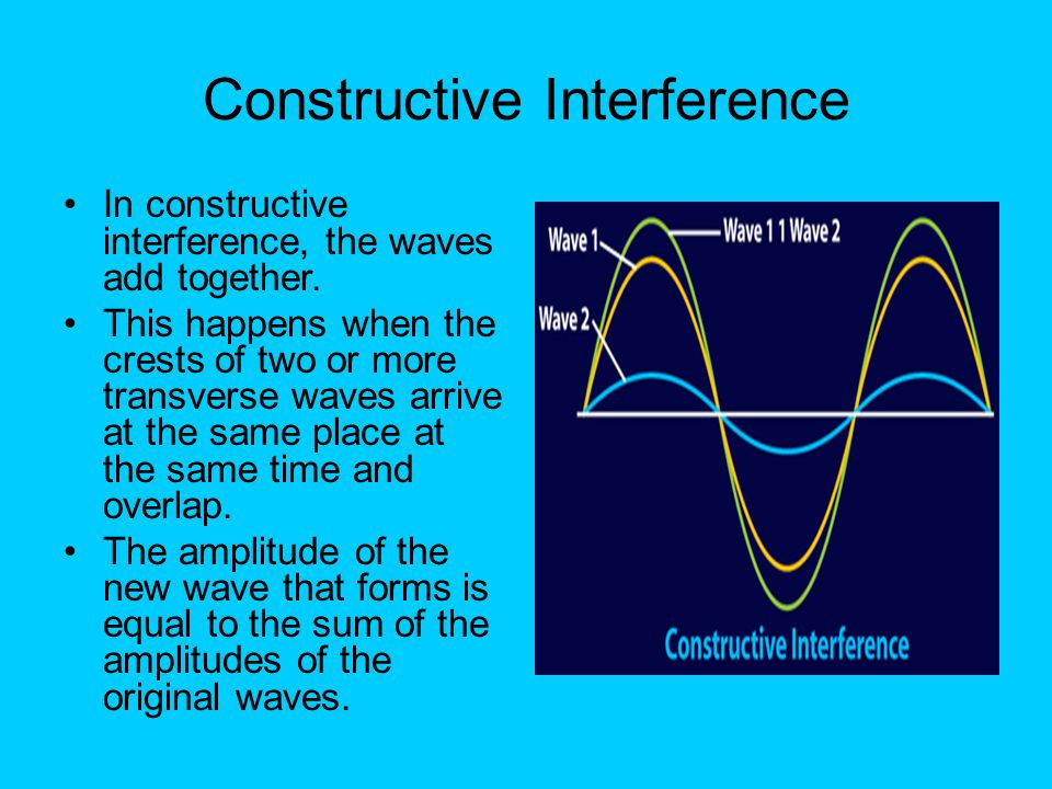 Constructive Interference In constructive interference, the waves add together. This happens when the crests of two or more transverse waves arrive at