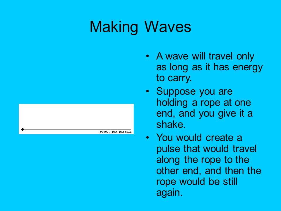 Making Waves (2) It is the up-and-down motion of your hand that creates the wave.