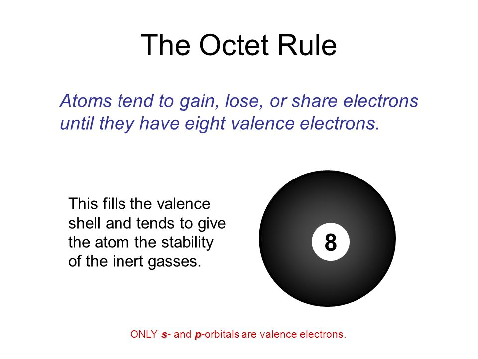 This fills the valence shell and tends to give the atom the stability of the inert gasses.