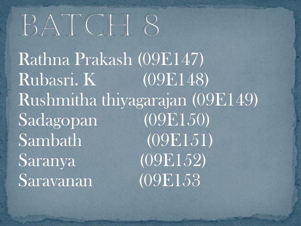 Rathna Prakash (09E147) Rubasri. K (09E148) Rushmitha thiyagarajan (09E149) Sadagopan (09E150) Sambath (09E151) Saranya (09E152) Saravanan (09E153