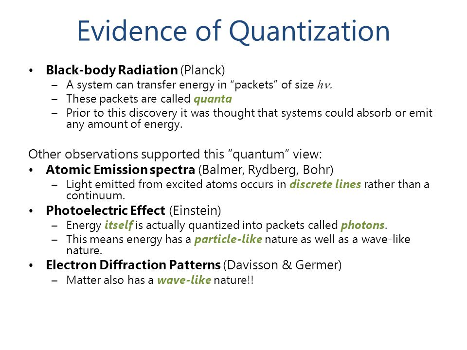 "Evidence of Quantization Black-body Radiation (Planck) –A system can transfer energy in ""packets"" of size h  –These packets are called quanta –Prior"