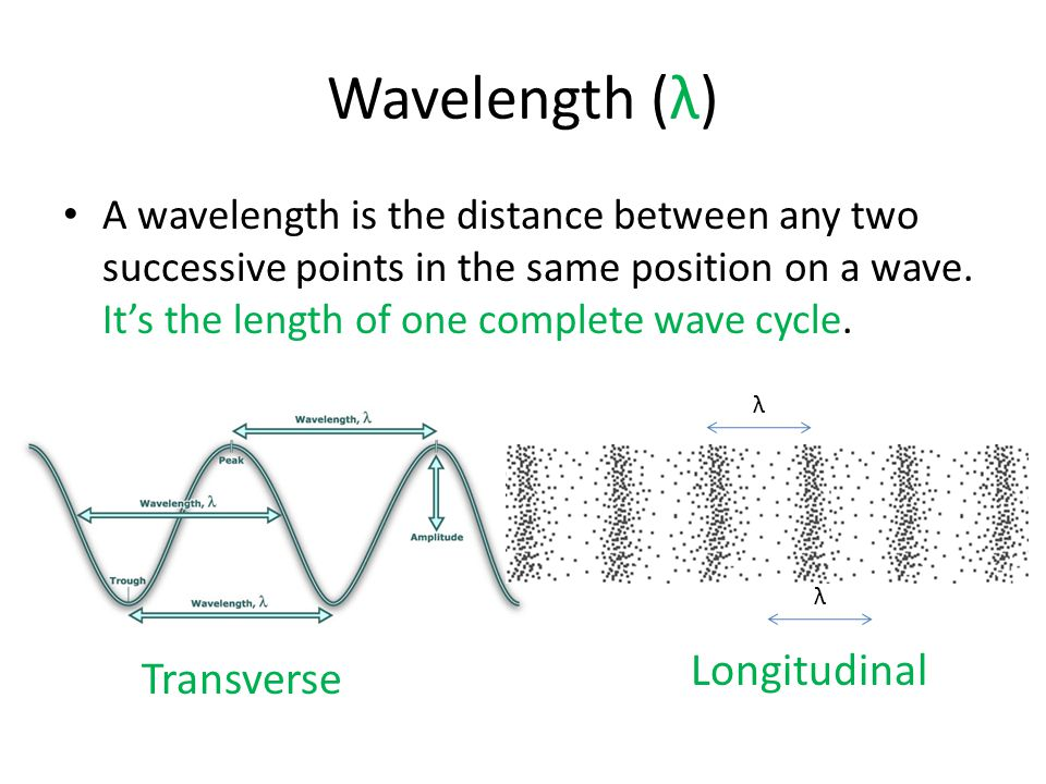 Wavelength (λ) A wavelength is the distance between any two successive points in the same position on a wave. It's the length of one complete wave cyc
