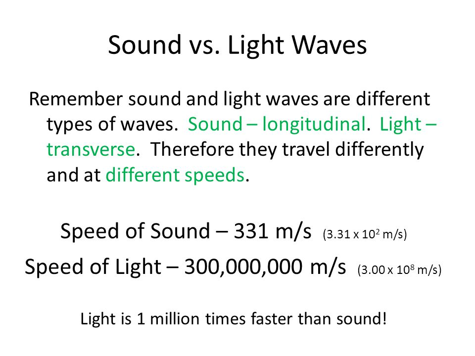 Sound vs. Light Waves Remember sound and light waves are different types of waves. Sound – longitudinal. Light – transverse. Therefore they travel dif