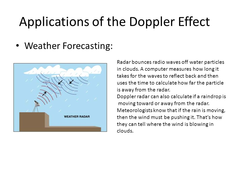 Applications of the Doppler Effect Weather Forecasting: Radar bounces radio waves off water particles in clouds. A computer measures how long it takes
