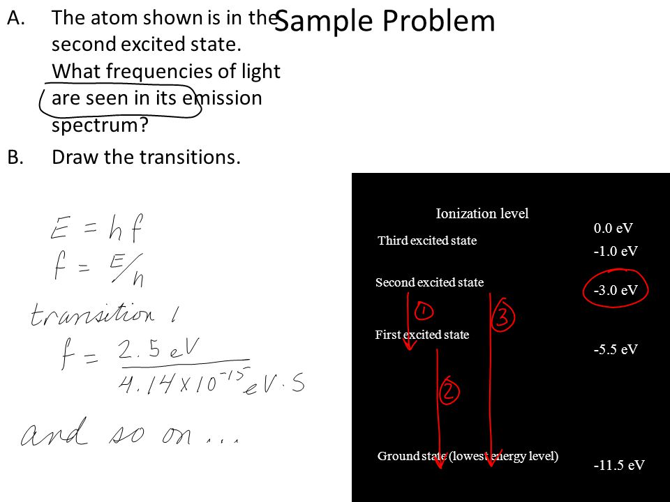 Sample Problem A.The atom shown is in the second excited state.