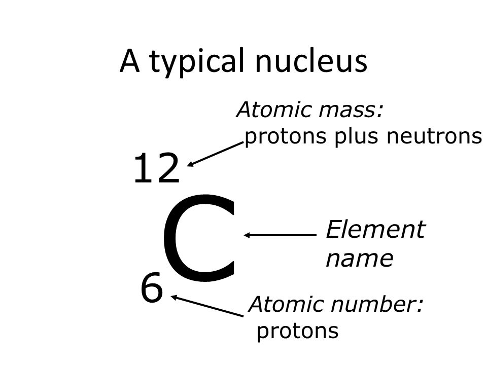 A typical nucleus C 12 6 Element name Atomic mass: protons plus neutrons Atomic number: protons