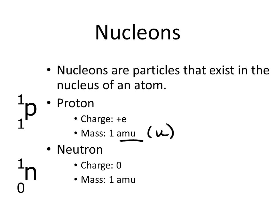 Nucleons Nucleons are particles that exist in the nucleus of an atom.