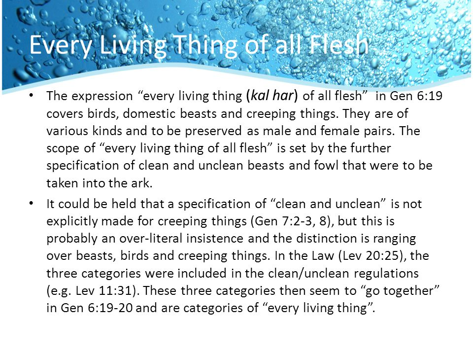Every Living Thing of all Flesh The expression every living thing (kal har) of all flesh in Gen 6:19 covers birds, domestic beasts and creeping things.