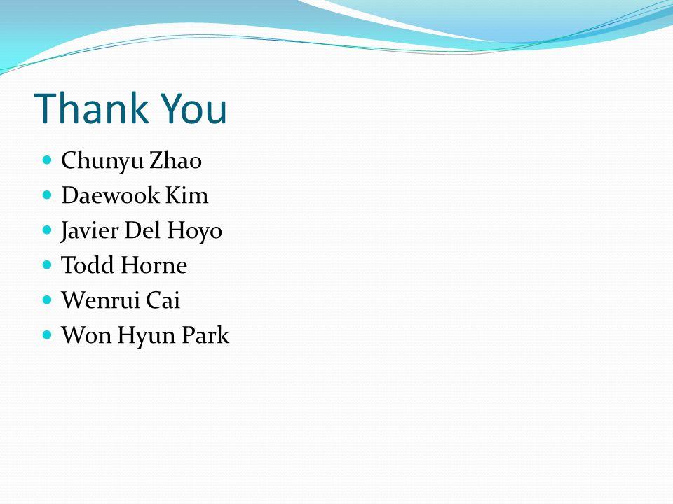 Thank You Chunyu Zhao Daewook Kim Javier Del Hoyo Todd Horne Wenrui Cai Won Hyun Park