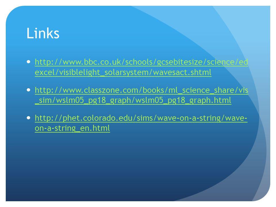 Links http://www.bbc.co.uk/schools/gcsebitesize/science/ed excel/visiblelight_solarsystem/wavesact.shtml http://www.bbc.co.uk/schools/gcsebitesize/sci