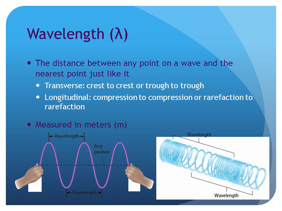 Wavelength (λ) The distance between any point on a wave and the nearest point just like it Transverse: crest to crest or trough to trough Longitudinal: compression to compression or rarefaction to rarefaction Measured in meters (m)