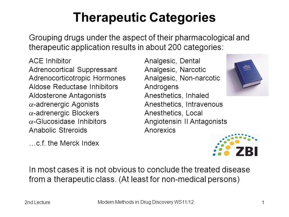 2nd Lecture Modern Methods in Drug Discovery WS11/12 1 Therapeutic Categories Grouping drugs under the aspect of their pharmacological and therapeutic application results in about 200 categories: ACE Inhibitor Analgesic, Dental Adrenocortical Suppressant Analgesic, Narcotic Adrenocorticotropic Hormones Analgesic, Non-narcotic Aldose Reductase Inhibitors Androgens Aldosterone Antagonists Anesthetics, Inhaled  -adrenergic Agonists Anesthetics, Intravenous  -adrenergic Blockers Anesthetics, Local  -Glucosidase Inhibitors Angiotensin II Antagonists Anabolic Streroids Anorexics …c.f.