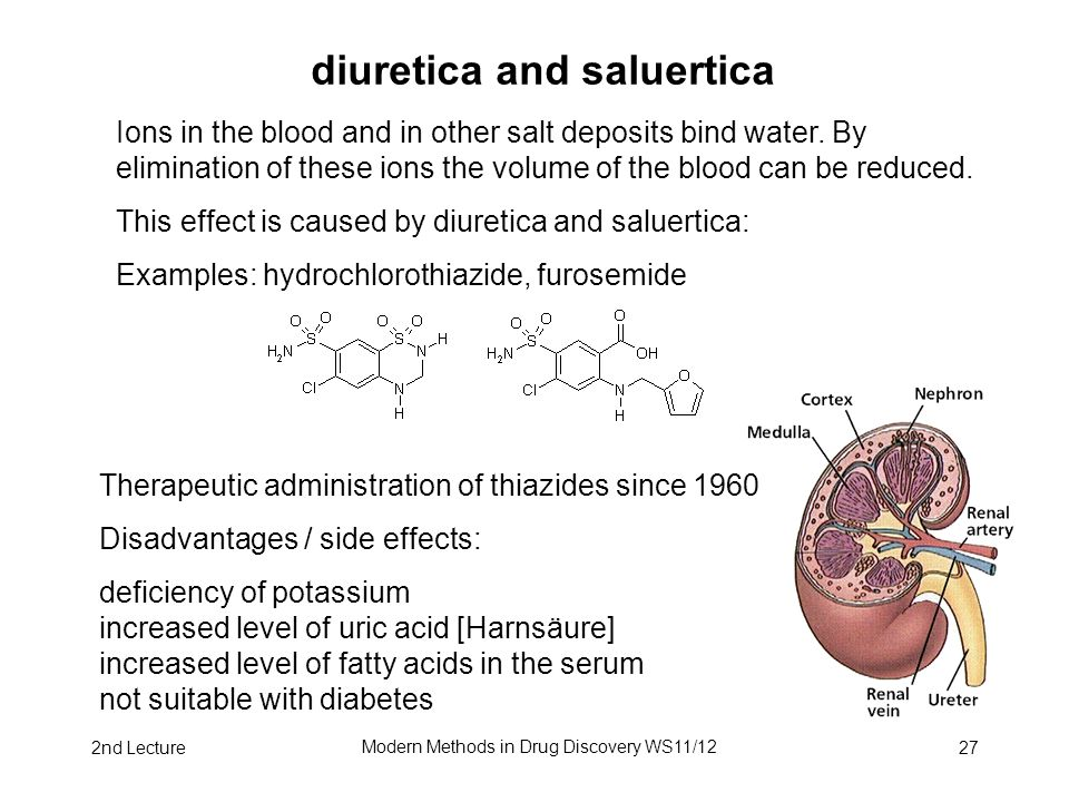 2nd Lecture Modern Methods in Drug Discovery WS11/12 27 diuretica and saluertica Ions in the blood and in other salt deposits bind water. By eliminati