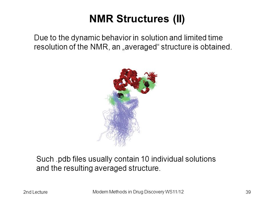 2nd Lecture Modern Methods in Drug Discovery WS11/12 39 NMR Structures (II) Due to the dynamic behavior in solution and limited time resolution of the