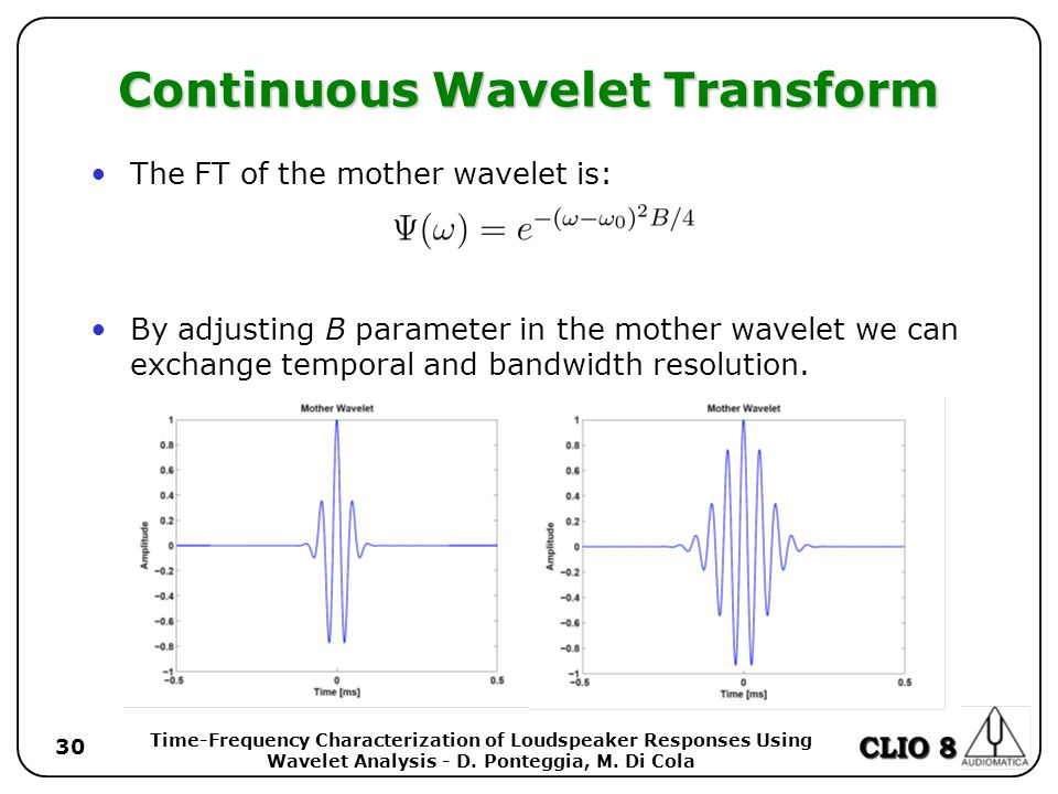 Time-Frequency Characterization of Loudspeaker Responses Using Wavelet Analysis - D.