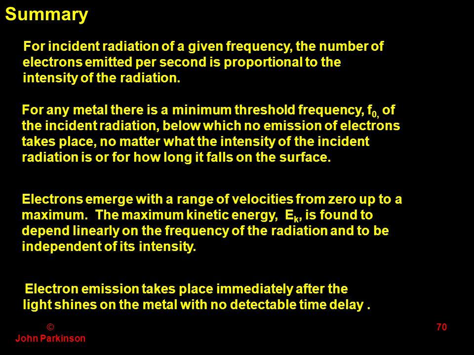 © John Parkinson 69 f / Hz 10 14 0 5 10 15 Max E k / eV 1 2 PotassiumMagnesiumAluminium