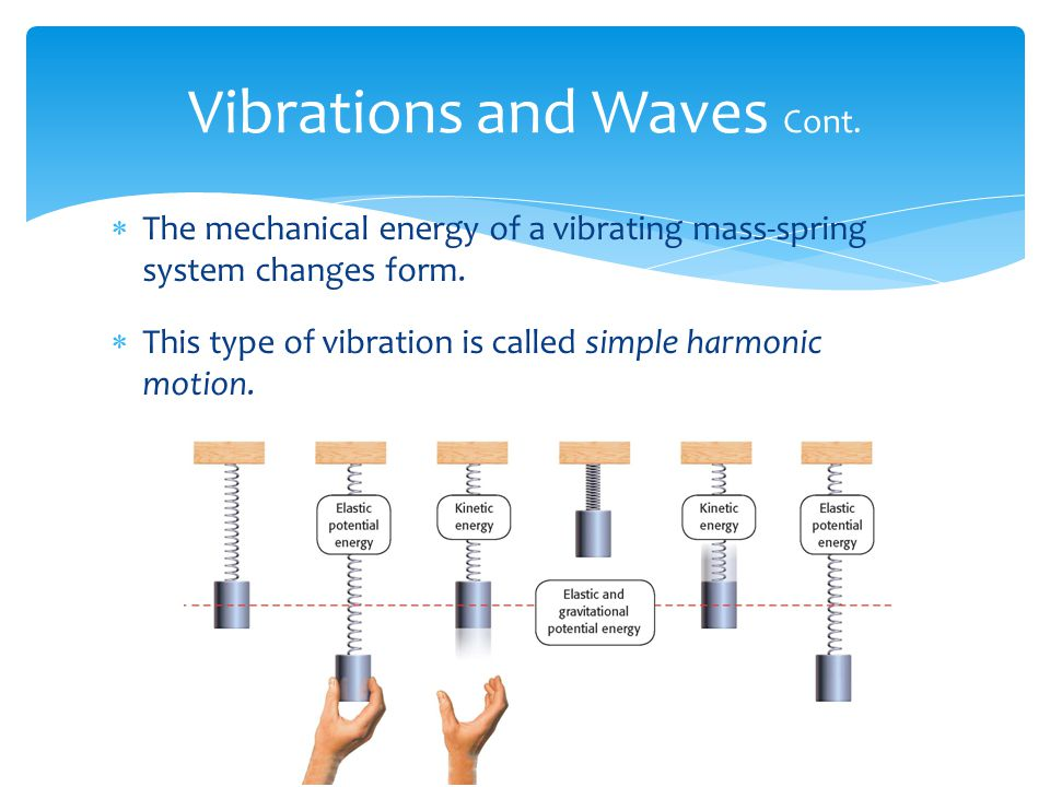 〉 How are waves generated? 〉 Most waves are caused by vibrating objects.  The sound waves produced by a singer are caused by vibrating vocal cords. 