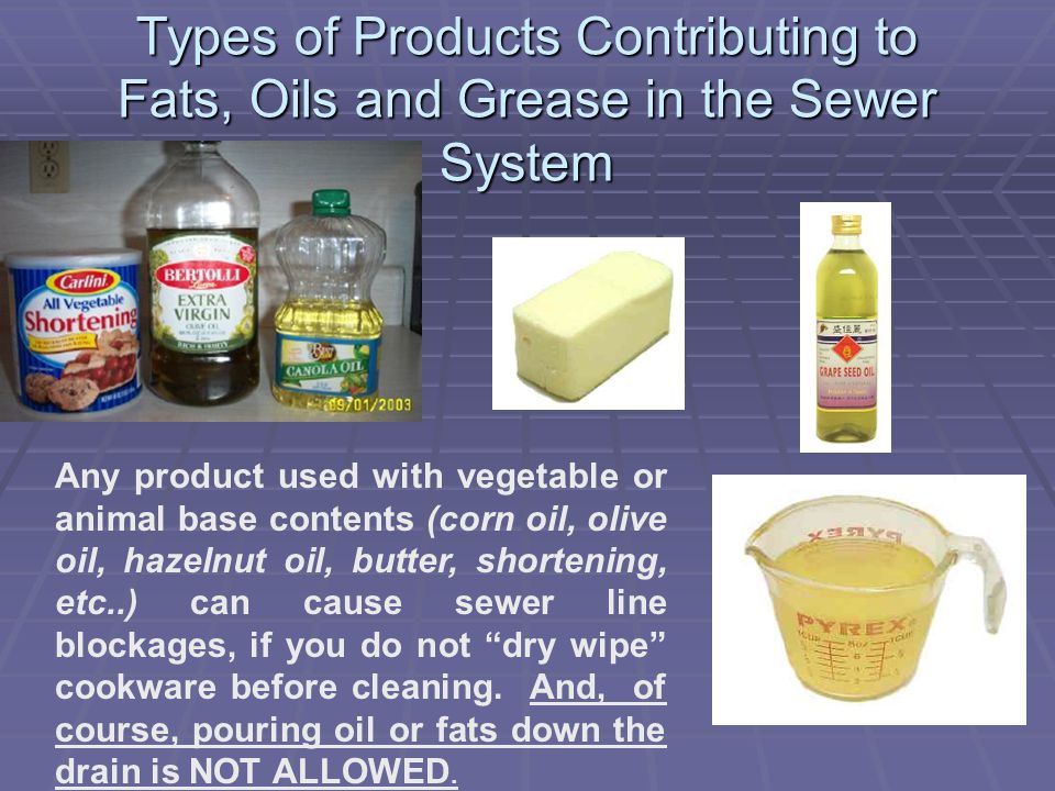 Types of Products Contributing to Fats, Oils and Grease in the Sewer System Any product used with vegetable or animal base contents (corn oil, olive oil, hazelnut oil, butter, shortening, etc..) can cause sewer line blockages, if you do not dry wipe cookware before cleaning.