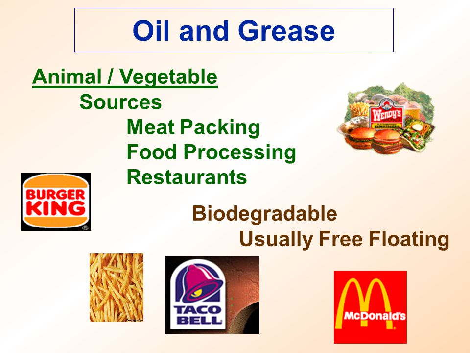 Oil and Grease Animal / Vegetable Sources Meat Packing Food Processing Restaurants Biodegradable Usually Free Floating