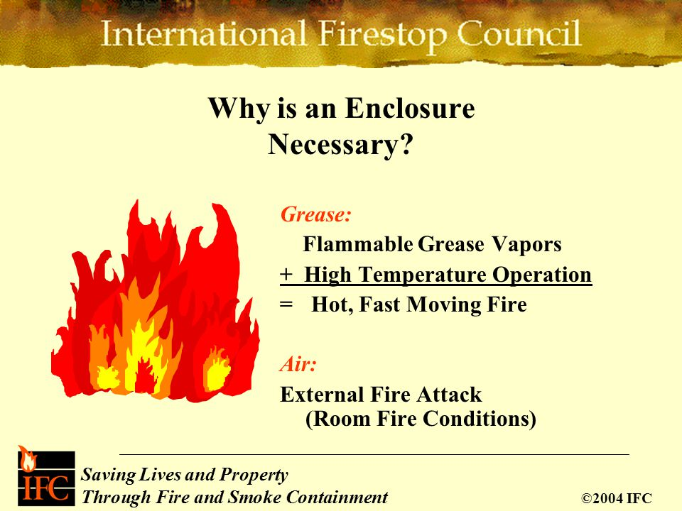 Saving Lives and Property Through Fire and Smoke Containment ©2004 IFC Why is an Enclosure Necessary.