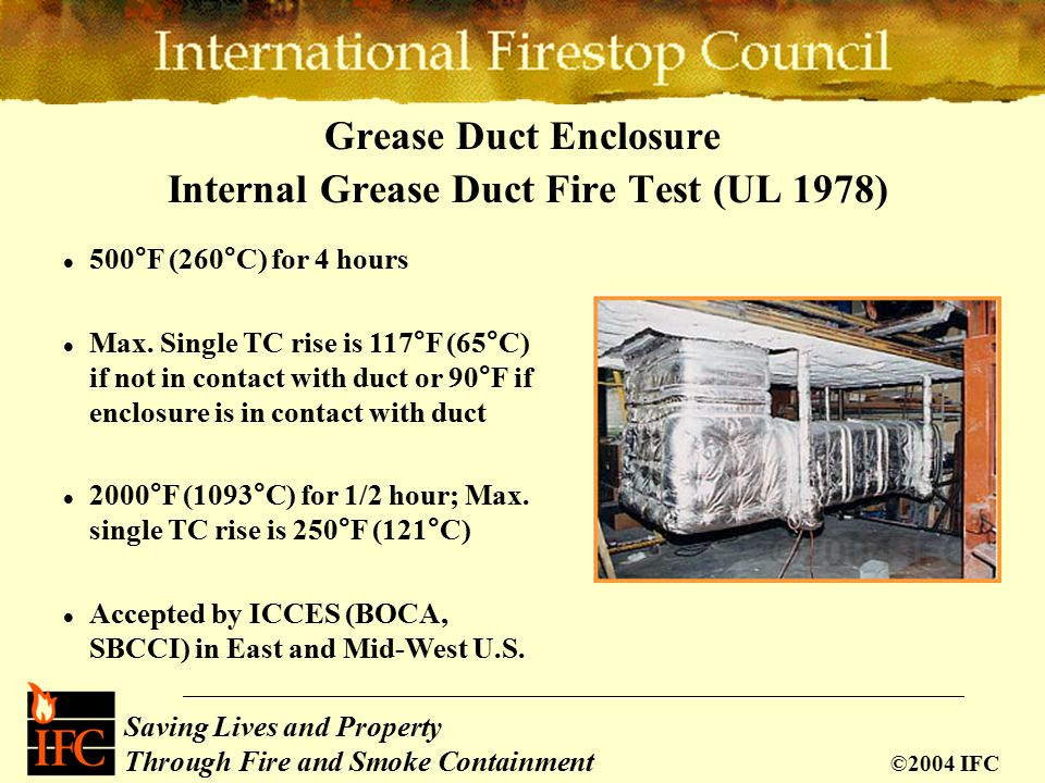 Saving Lives and Property Through Fire and Smoke Containment ©2004 IFC Grease Duct Enclosure Internal Grease Duct Fire Test (UL 1978) 500°F (260°C) for 4 hours Max.