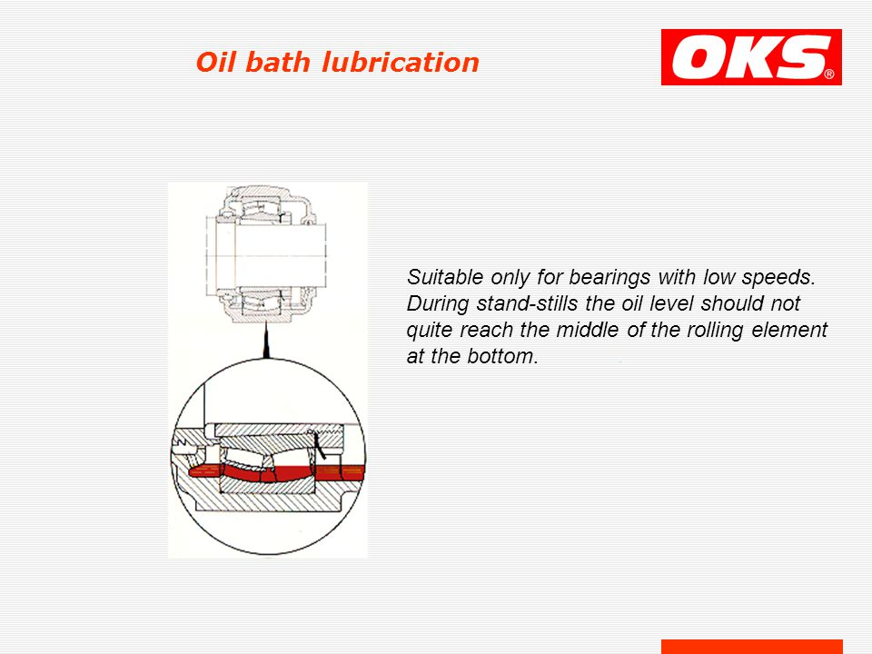 Oil bath lubrication Suitable only for bearings with low speeds.