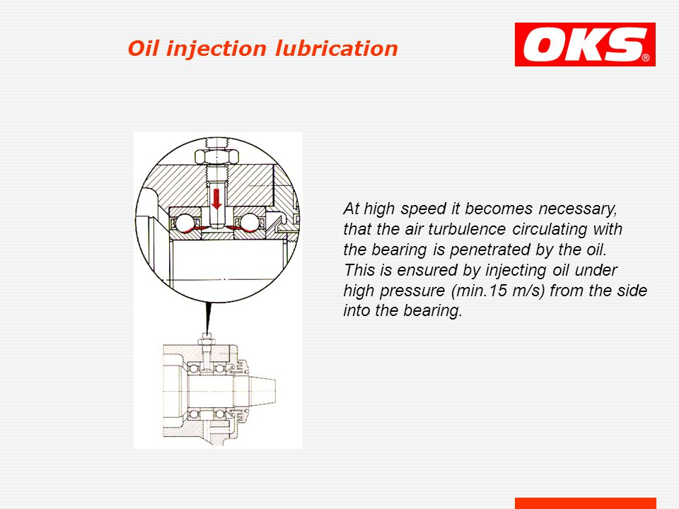 Oil injection lubrication At high speed it becomes necessary, that the air turbulence circulating with the bearing is penetrated by the oil. This is e
