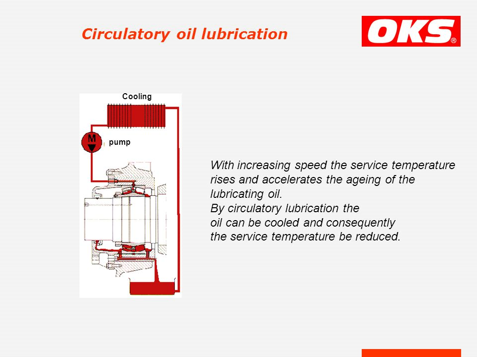 Circulatory oil lubrication With increasing speed the service temperature rises and accelerates the ageing of the lubricating oil.