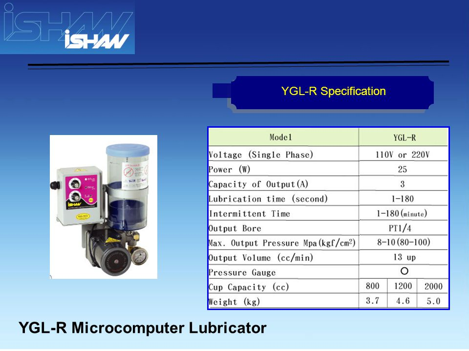 YGL-C Automatic Lubricator YGL-C Specification