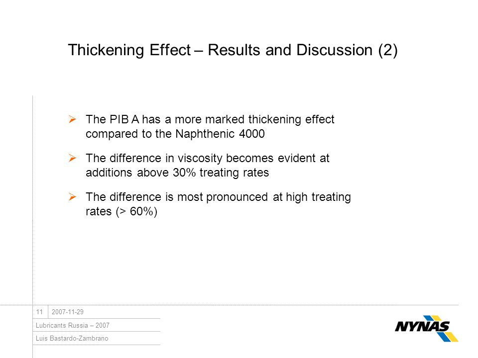 Luis Bastardo-Zambrano Lubricants Russia – 2007 112007-11-29 Thickening Effect – Results and Discussion (2)  The PIB A has a more marked thickening e