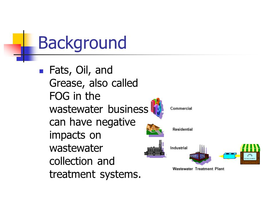 Background Fats, Oil, and Grease, also called FOG in the wastewater business can have negative impacts on wastewater collection and treatment systems.