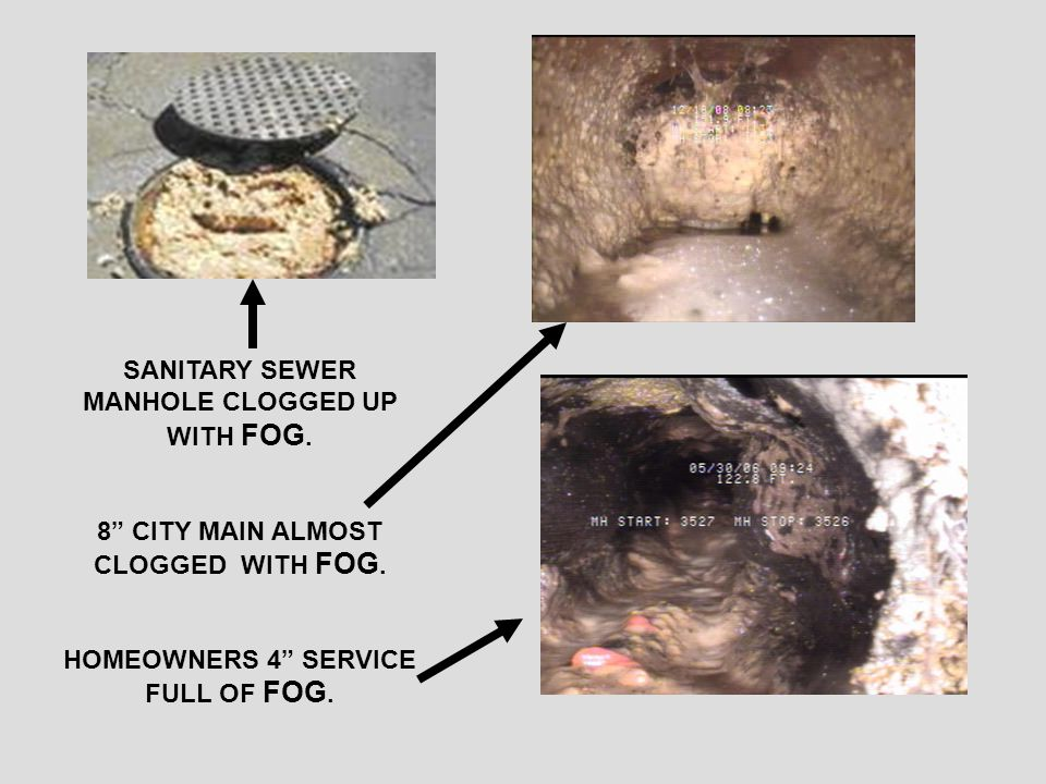 BY POURING HOUSEHOLD FOG AND WASTE DOWN THE DRAIN YOU WILL EVENTUALLY CLOG YOUR PIPES OR THE CITY SEWER IN YOUR AREA.