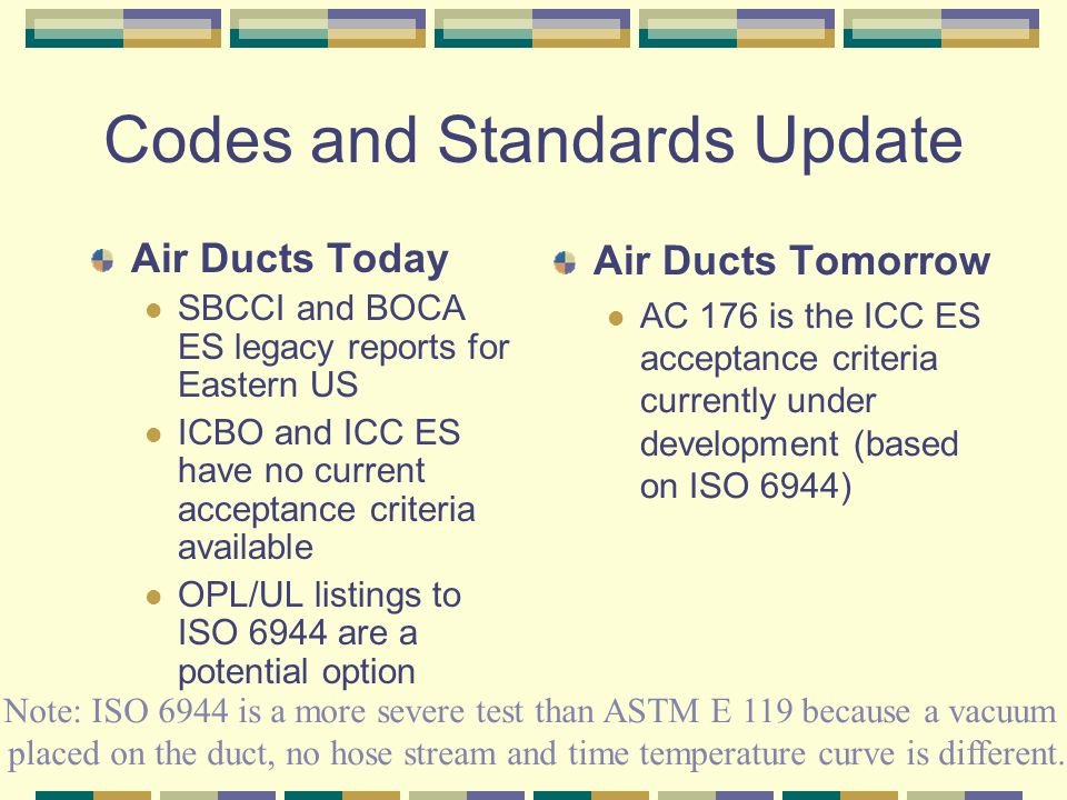 Codes and Standards Update Air Ducts Today SBCCI and BOCA ES legacy reports for Eastern US ICBO and ICC ES have no current acceptance criteria available OPL/UL listings to ISO 6944 are a potential option Air Ducts Tomorrow AC 176 is the ICC ES acceptance criteria currently under development (based on ISO 6944) Note: ISO 6944 is a more severe test than ASTM E 119 because a vacuum is placed on the duct, no hose stream and time temperature curve is different.