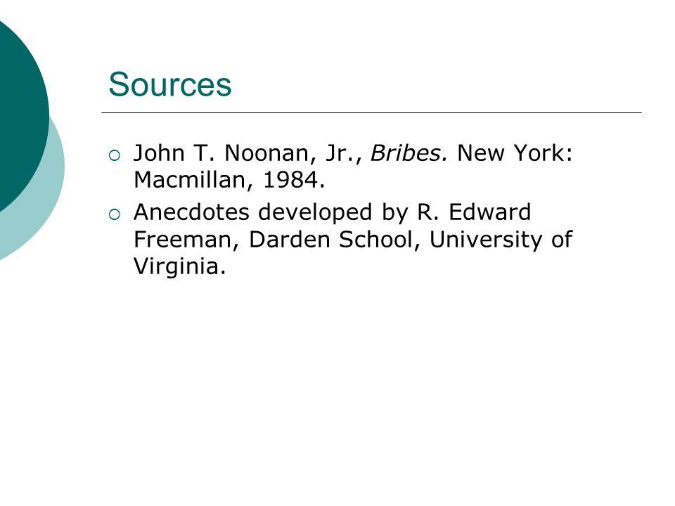 Sources  John T. Noonan, Jr., Bribes. New York: Macmillan, 1984.  Anecdotes developed by R. Edward Freeman, Darden School, University of Virginia.