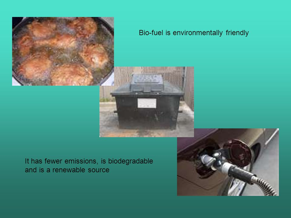 Bio-fuel is environmentally friendly It has fewer emissions, is biodegradable and is a renewable source
