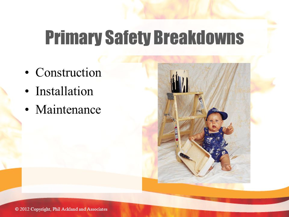 © 2012 Copyright, Phil Ackland and Associates Primary Safety Breakdowns Construction Installation Maintenance