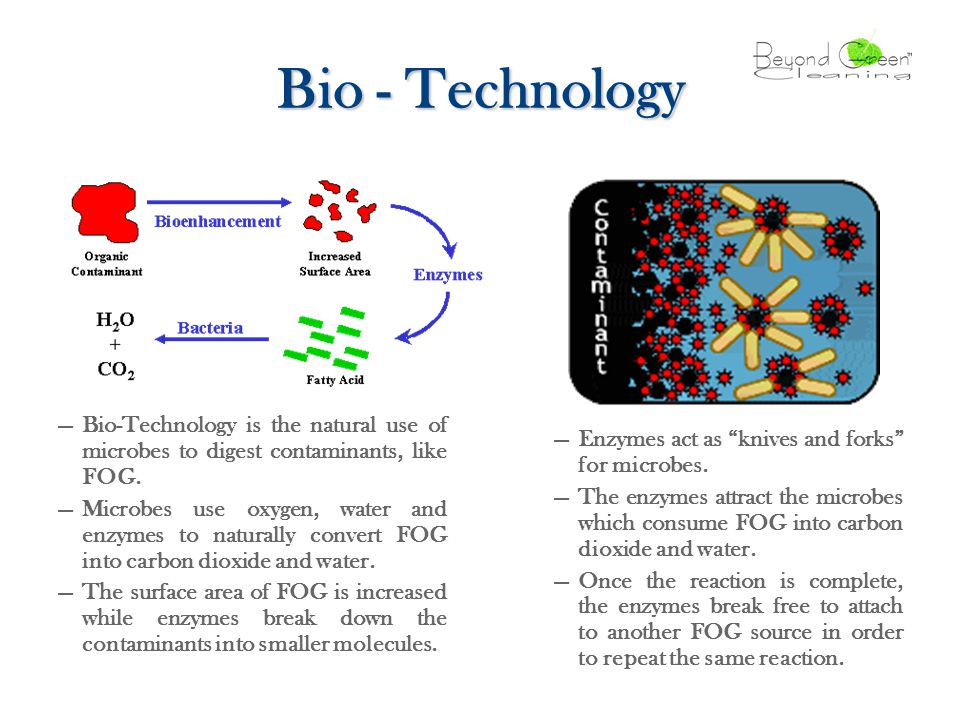 Bio - Technology —Bio-Technology is the natural use of microbes to digest contaminants, like FOG.