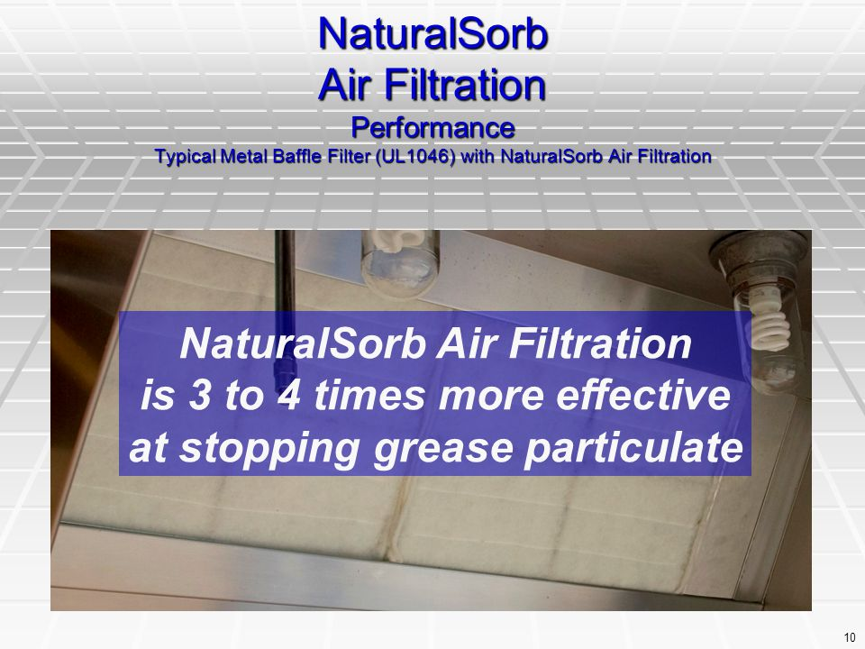 10 NaturalSorb Air Filtration Performance Typical Metal Baffle Filter (UL1046) with NaturalSorb Air Filtration NaturalSorb Air Filtration is 3 to 4 ti
