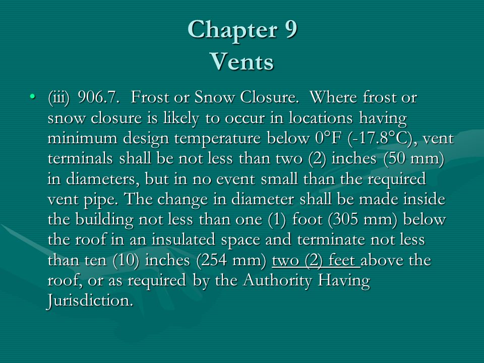 Chapter 9 Vents (iii)906.7. Frost or Snow Closure. Where frost or snow closure is likely to occur in locations having minimum design temperature below